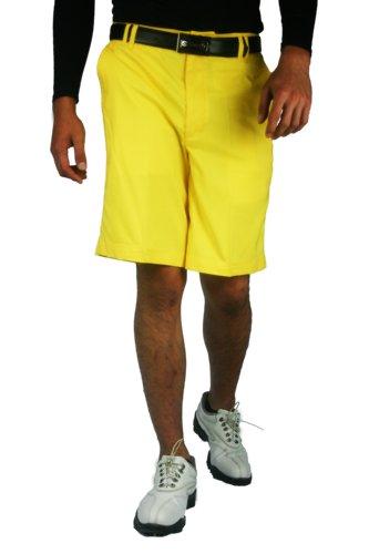 (CaPantzzi Men's Stretch Flat Front Shorts - Yellow - 34)