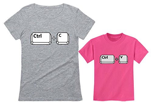 Mom & Her Girl/Boy Copy Paste Matching Set Mother & Daughter/Son T-Shirts Mom Gray Small/Child Pink 5/6