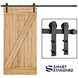 "SMARTSTANDARD 8ft Heavy Duty Sturdy Sliding Barn Door Hardware Kit - Smoothly and Quietly-Simple and Easy to Install-Includes Step By Step Installation Instruction-Fit 42""-48""Wide Door Panel (I shape)"