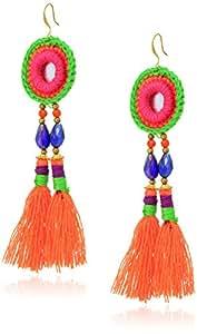 Panacea Circle Embroidery and Orange Tassel Drop Earrings