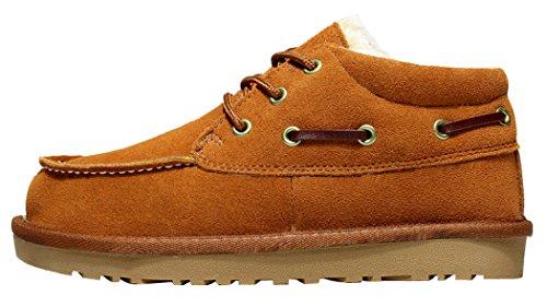 MILANAO Unixex Men Warm Pure Color Cotton Shoelace Windproof Snow Boots(Lover Shoes)(9D(M)US,chestnut)