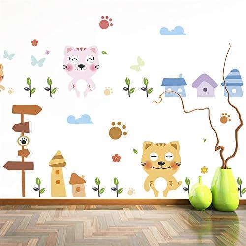 Dulce Familia Gatos Calcomanías de Pared para Niños Habitaciones Dormitorio Decoración del Hogar Animal de la Historieta Pegatinas de Pared DIY Cartel PVC Arte Mural: Amazon.es: Hogar