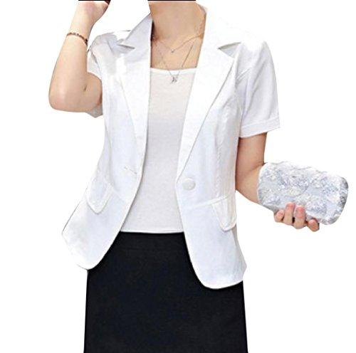 Sheng Xi Women's Stylish Short Sleeve One Button Wild Blazer Jacket White (Stretch Short Sleeve Blazer)