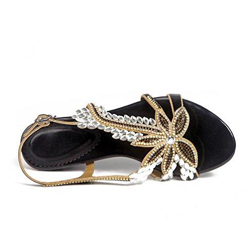 Sandals 38 Flowered Flop A Color Heel Size PU Rhinestone Flip Women's Summer Shoes Low Flat B66q8zT