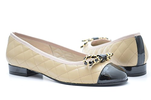 Ladies EYE Quilted Leather ballerina shoes with Patent toe-cap, gold and leather trim G 10 Beige