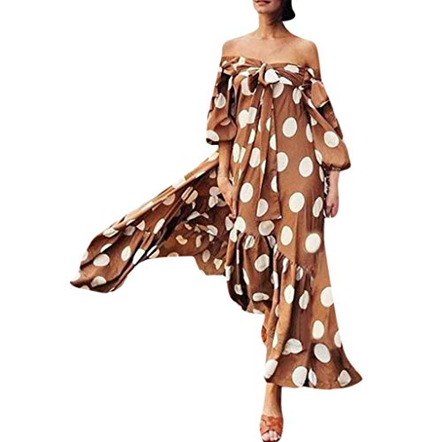 Women Dot Off Shoulder Dresses – Ladies Fashion Tie Knot Front Puff Sleeve Dress – Elegant Loose Maxi Dress Party Clothes (S, Brown)