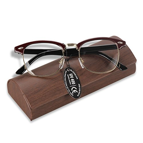 SUASI Mens Womens Reading Glasses Eyewear Fashion Half Frame Horn Rimmed Clear Lens Spectacles 8056 (red, clear - Half Spectacles