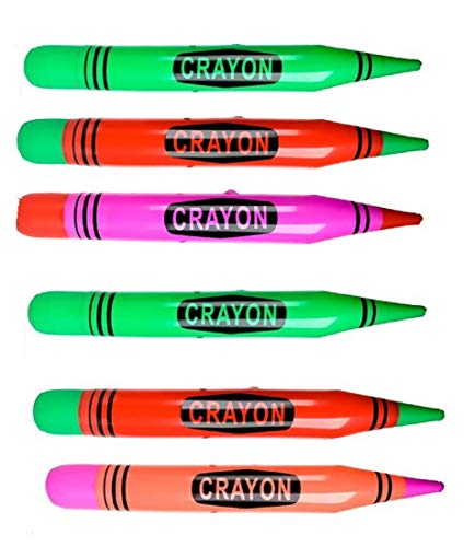 Inflatable Neon Crayons 44 Inch for Party Decorations and Pool Toys (Set of 6)]()