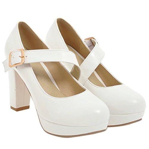 AIYOUMEI Damen High Heel Blockabsatz Plateau Mary Jane Pumps mit Riemchen Sommer Schuhe Frauen Weiß