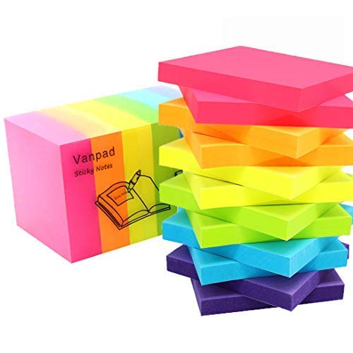 Vanpad Sticky Notes 3x3 Inches,Bright Colors Self-Stick Pads,100 Sheets/Pad,12 Pads,1200 Sheets ()