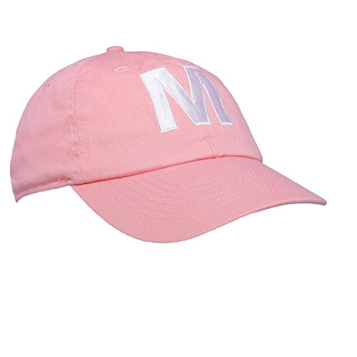 Tiny Expressions Toddler Girls' Pink Embroidered Initial Baseball Hat Monogrammed Cap (M, - Hats Monogrammed Baby