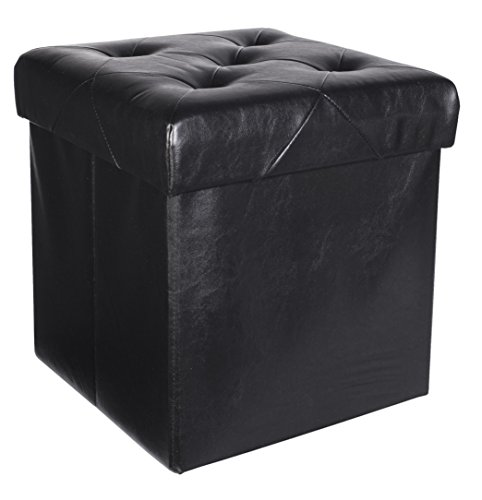 Onyx Cube Black (Premium Faux Leather Folding Cube Storage Ottoman with Padded Seat, 15