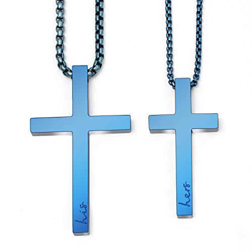 - Sunflower Jewellery Matching Cross Necklace Set His Hers Pendant Necklace for Girls Boys Relationship (Blue)