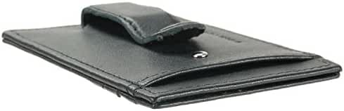 Alpine Swiss Men's Top Grain Leather Minimalist Money Clip Front Pocket Wallet
