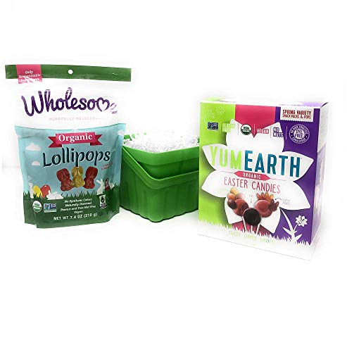 Organic Easter Candy:Yum Earth Sour Beans, Yum Earth Bunny Gummy Fruit Snacks, YumEarth Pops and Wholesome Bunny Lollipops (58 Pieces) Allergy Friendly- Gluten,Dairy,Vegan,Non-GMO, Natural Ingredients