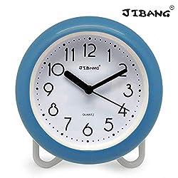 JIBANG Waterproof Bathroom Clock, Desktop Clocks for Bathroom, 7 Inches Silent Non-Ticking Prevent Mist Wall Clock, 7 Colors are Optional, Blue