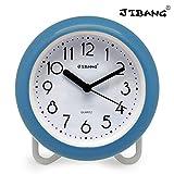 JIBANG Waterproof Bathroom Clock, Desktop Clocks for Bathroom, 7 Inches Silent Non-Ticking Prevent Mist Wall BLUE