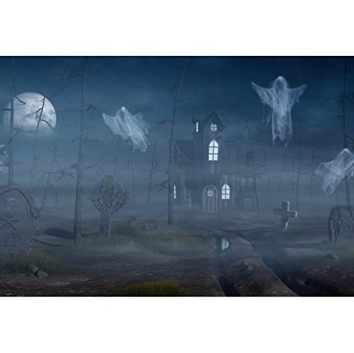 DORCEV 10x6.5ft Horror Night Photography Backdrop Halloween Terror Theme Costume Party Background Horror Dark Moon Night Grave Forest Haunted House Costumn Party Banner Halloween Photo Studio Props -