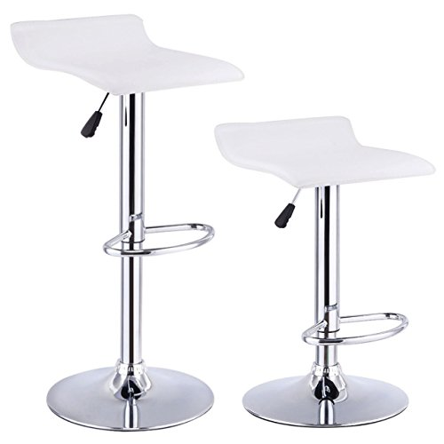 - Set Of 2 Swivel Bar Stools Adjustable Waterproof Anti-aging PU Leather Backless Dining Bar Chair Square White #715