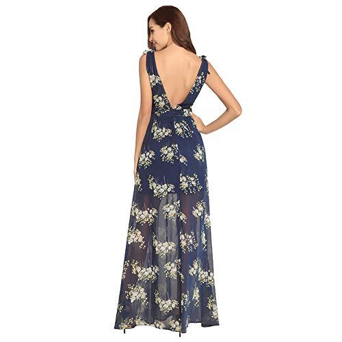 Wrap Ausschnitt Floral Ärmelloses Chiffon S Backless Frauen Kleid Langes V Boho Multicolorfloralblue Tiefem wnxCqYO68