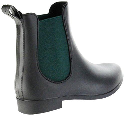 ConWay Gummi-Stiefelette Schwarz Regenstiefel Damen Stiefelette Schuhe Simone Schwarz