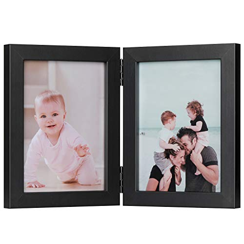 A wooden, folding photo frame in matte black.