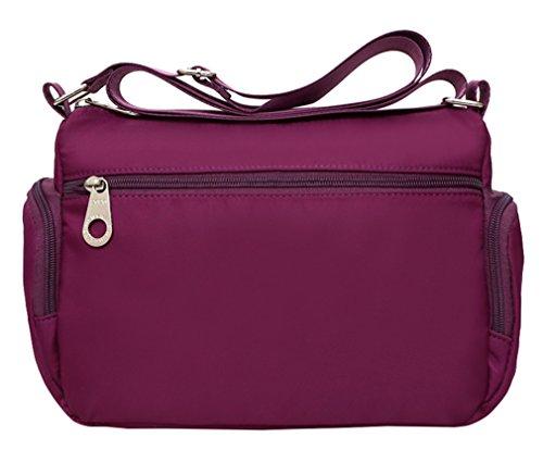 Bag Purple Lonson Travel Bag Shoulder Women's Pockets Outdoor Purses Nylon Bag Multiple xxPOvwqnRr