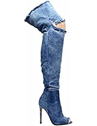 Barbara-13 Thigh High Over Knee Denim Open Toe Stiletto Heel Boot Lite Blue