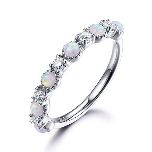 (Opal Diamond Wedding Band CZ Cubic Zirconia Engagement Ring Solid 14k White Gold Stackable Jewelry Women )