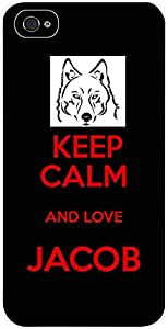 Keep calm and Love Jacob - Black/Red - Apple iPhone 4 - 4s universal - Hard white plastic snap on case.