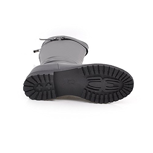 Balamasa Damesschoen-loafer Lage Hak Kniehoge Solide Urethaan Laarzen Abl09841 Zwart