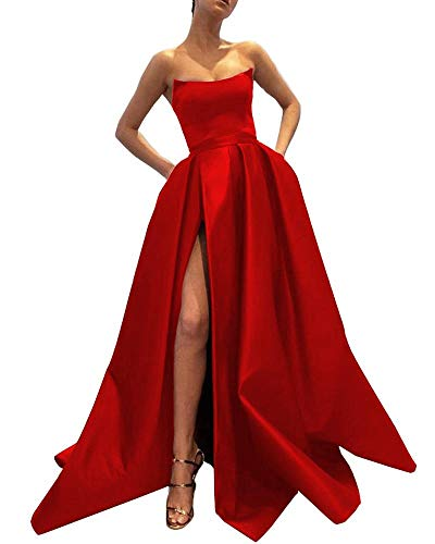 (Ever-Beauty Womens Long Strapless Satin Prom Dress Sleeveless Slit Evening Ball Gown with Pockets Red Size 2)