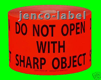 Jenco-Label DN3512R, 500 3x5 Do Not Open With Sharp Object Labels