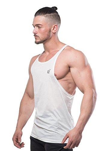 Men/'s Bodybuilding Workout Mesh Stringer Tank Top Open Cut Racerback