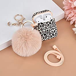 Airpod Case AIRSPO Airpods Case Cover for Apple AirPods 2&1 Silicone Protective Skin Cute Airpod Case for Girls with Pom…