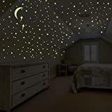 8816 Glow in The Dark Stars and Moon Wall Stickers, Glowing Stars for Ceiling Wall Decals Perfect for Kids Nursery Bedroom Living Room – 201 Pieces