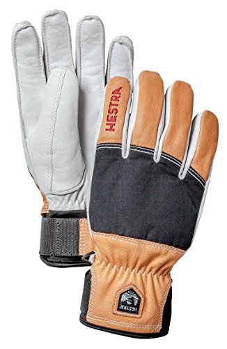(Hestra Ski Gloves: Mens and Womens Army Leather Abisko Wool Lined Winter Cold Weather Gloves, Black, 8)