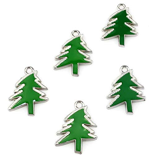 5Pcs/Lot Green Enamel Merry Christmas Tree Necklace Pendant Jewelry Finding Making Charms ()