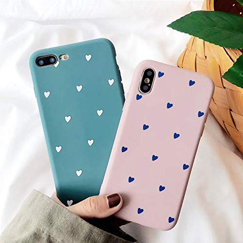 - BONTOUJOUR iPhone X/iPhone XS Phone Case, Beautiful Art Little Heart Pattern Matte Surface Serie Cover Case Soft TPU 360 Degree Good Protection- Matte Little Heart-Blue