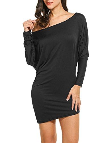 Zeagoo Womens Boatneck Convertible Shirts Draped Long Sleeve Dolman Tunic Top,Black,Small -