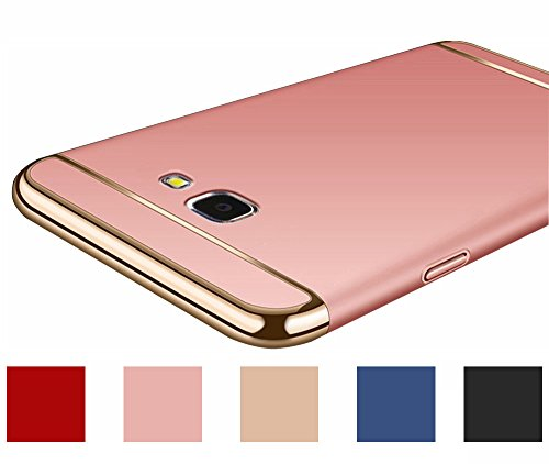 Galaxy J3 2017, J3 Emerge, (NOT for J3 Prime), Amp Prime 2, Express Prime 2 Case, Best Share Luxury Electroplated Bumper Slim Fit Detachable 3 IN 1 Hard PC Hybrid Armor Case Cover, Rose Gold