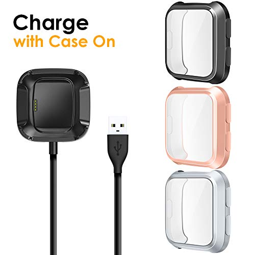 EZCO Compatible with Fitbit Versa Screen Protector Plus Charger [3+1 Pack], Exclusive Charging Dock Cable (Can Charge Case On) Soft TPU Full Coverage Case Cover Bumper Compatible Versa Smart Watch