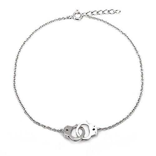 Sterling Silver Handcuff Anklet Bracelet (Adjustable 9