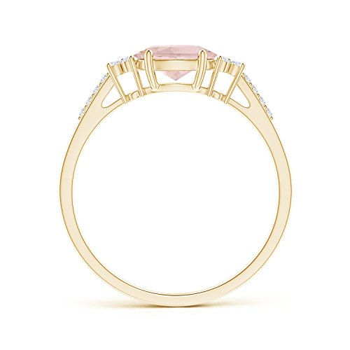 Horizontally Set Oval Morganite Solitaire Ring with Trio Diamond Accents 7x5mm Morganite