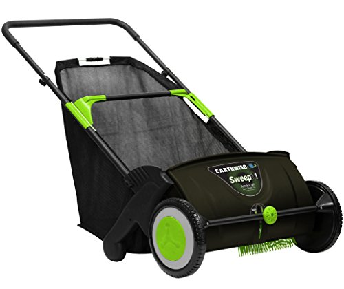 (Earthwise LSW70021 Sweep it! 21-inch Push Lawn Sweeper with Removable 2.6 Bushel Collection Bag and Adjustable Sweeping Height)