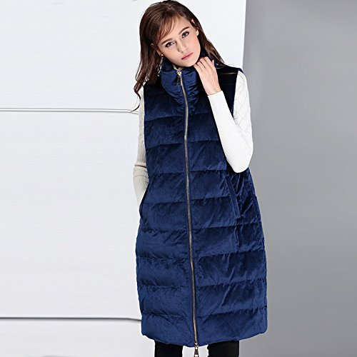 Women Solid Color Coat Vest Sleeveless Jacket Zipper DYF Blue XL Collar Down 4xAH8qd