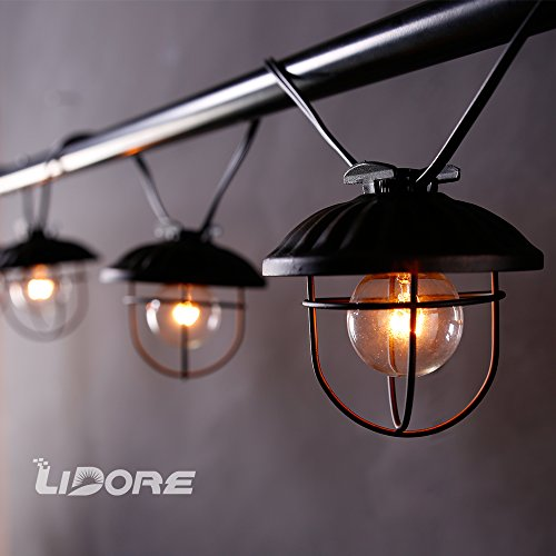 LIDORE Column New G40 Cafe Shade String Light.Black wire with 7 bulbs. Vitange design. 110V