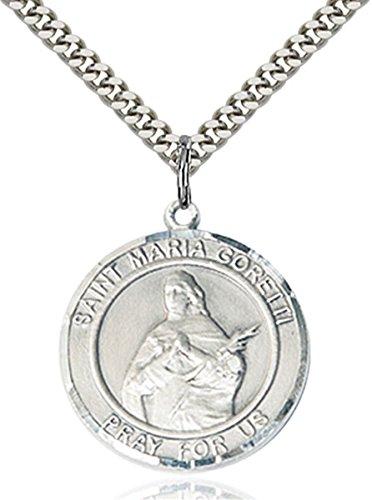 Saint Maria Goretti Medal (Sterling Silver Round Catholic Saint Maria Goretti Medal Pendant, 1 Inch)