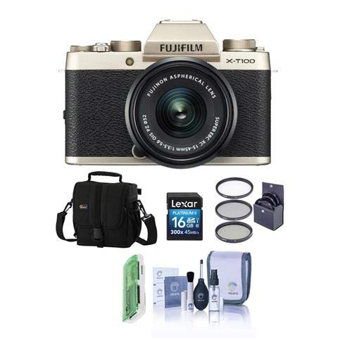 Fujifilm X-T100 Mirrorless Digital Camera, Gold with XC15-45mmF3.5-5.6 OIS PZ Lens - Bundle with Camera Case, 16GB SDHC Card, 52mm Filter Kit, Cleaning Kit, Card Reader