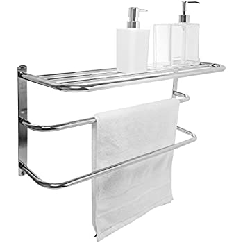 Amazon.com: Wall Mounted 2 Bar Towel Rack & Storage Shelf, 3 Tier ...